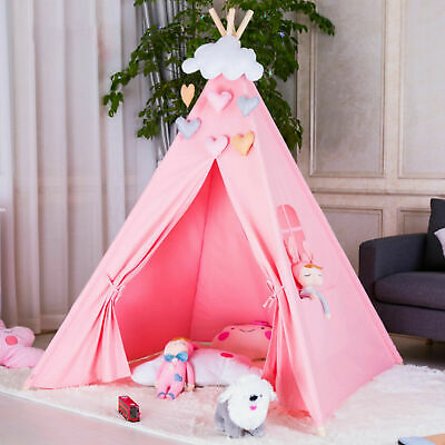 Cotton Canvas Kids Teepee Tent Childrens Wigwam Indoor Outdoor Play House