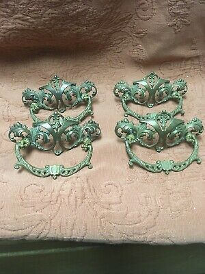 ANTIQUE LOT OF 4 ORNATE VICTORIAN BRASS DRAWER PULLS HANDLES Beautiful