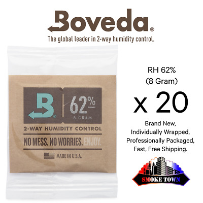 20-Pack Boveda RH 62% (8 Gram) Individually Wrapped + Fast, Free Shipping