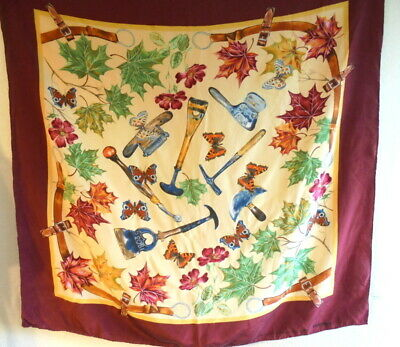 Friitala Tannery Finland  Silk Scarf hand rolled Tools butterflies floral (S95