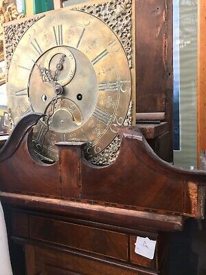 Mahogany Inlade Brass Faced Grandfather Clock