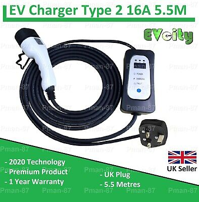Renault Zoe Ze40 Type 2 Ev Portable / Mains Charger 5.5 Metres 16A Electric