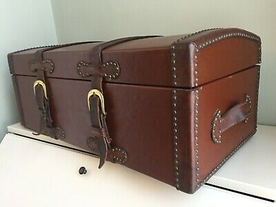Antique 19th Century Leather Trunk Dome Top Studded Leather Straps Victorian