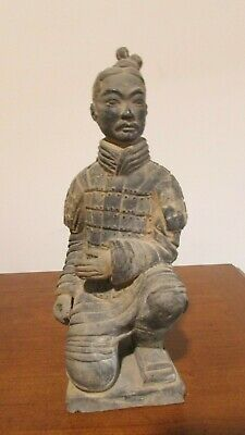 Vintage Chinese Clay Terracotta Kneeling Warrior Statue