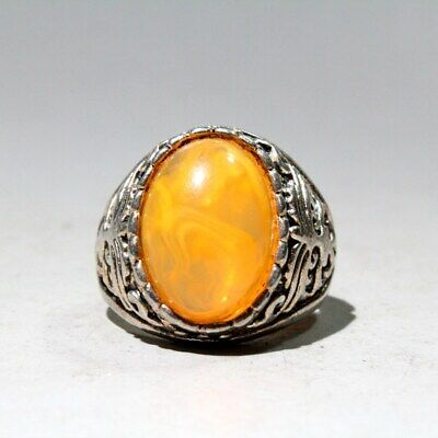 Collectable China Miao Silver Delicate Agate Handwork Carve Beautiful Noble Ring