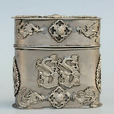 Collect China Miao Silver Hand-Carved Phoenix & Dragon Bring Luck Toothpick Box