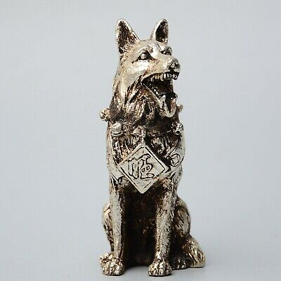 Collectable Old Miao Silver Handwork Carve Loyal Dog Lovely Interesting Statue