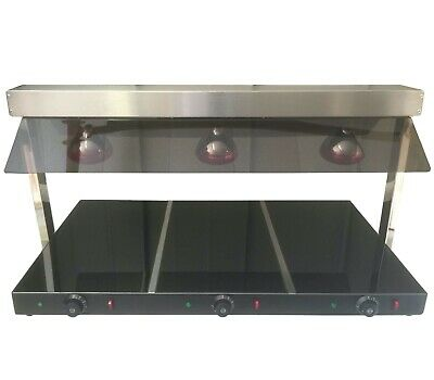 Plate Warmer Ceramic Heated Base Three Lamps Carvery Buffet Display 3 Bulb 1.1m