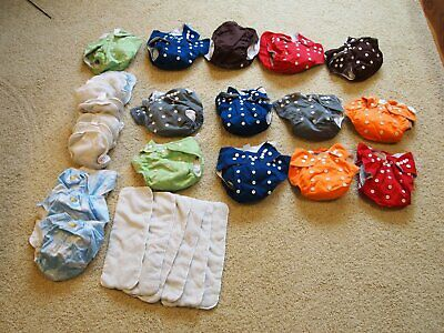 Large lot of cloth diapers, covers, extra inserts.  Trend Lab, JustSimplyBaby