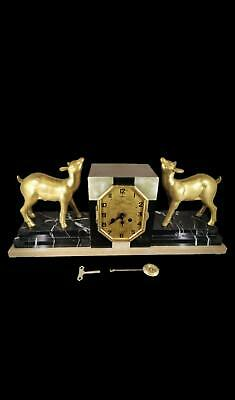 Stunning French Marble Figural Mantel Clock With Young Deer Ex-Cond Serviced GWO