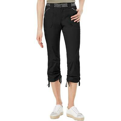 INC Womens Black Studded Curvy Fit Capri Cargo Pants 6 BHFO 3428