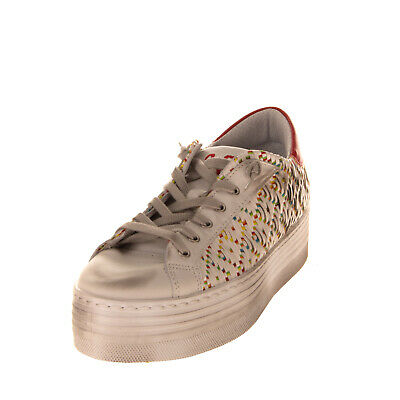 RRP €105 2STAR Leather Sneakers Size 40 UK 7 US 10 Woven Low Top Flatform Sole