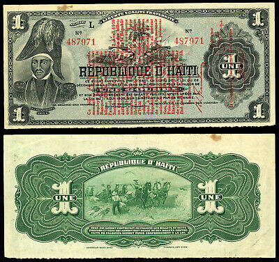 HAITI 12 April 1919 1 Gourde VF/EF P-140a Banque Nationale de la République d'Ha