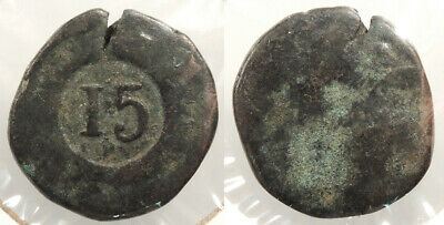 INDIA: Goa ND (1846) 15 Reis Counter-marked dump coinage #WC62836