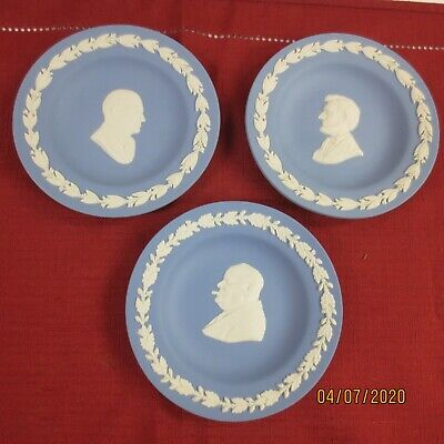 Wedgwood Jasperware Blue & White Made in England - lot of 3