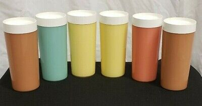 Vintage Mid Century Thermal NFC Plastic Tumblers Assorted Colors-Lot of 6