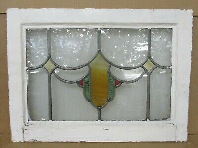 "OLD ENGLISH LEADED STAINED GLASS WINDOW Pretty Shield Design 20.75"" x 15.25"""