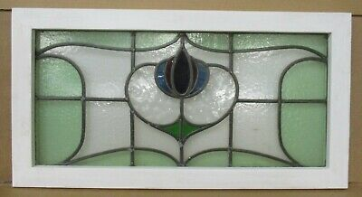 OLD ENGLISH LEADED STAINED GLASS WINDOW TRANSOM Pretty Floral 29.25' x 15.5""