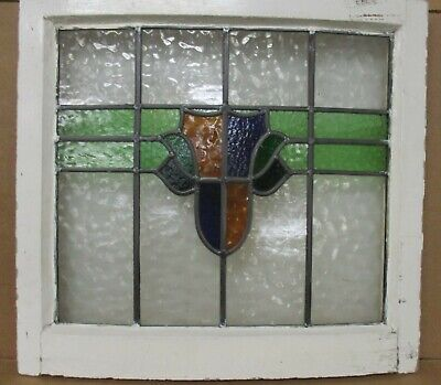 """MIDSIZE OLD ENGLISH LEADED STAINED GLASS WINDOW Rare Curved Frame 23.5' x 21.5"""""""
