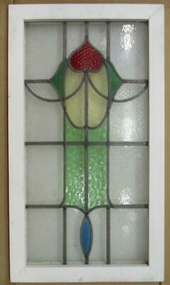 "LARGE OLD ENGLISH LEADED STAINED GLASS WINDOW Pretty Floral 17.75"" x 31.75"""