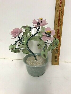 Vintage Chinese Bonsai Jade Glass Tree Pink Blossoms