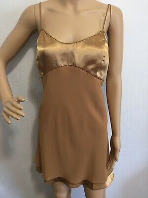 Morgan Taylor Intimates Sexy Chemise Lingerie Sleepwear Gold Bling Large