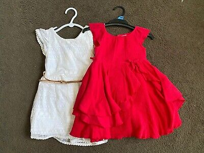 2 X Girls Dresses Size 3 White And Red