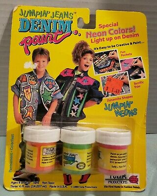 Vintage Denim Paint Jumpin Jeans Neon Colors Fluorescent 1989 NEW NIP NOS