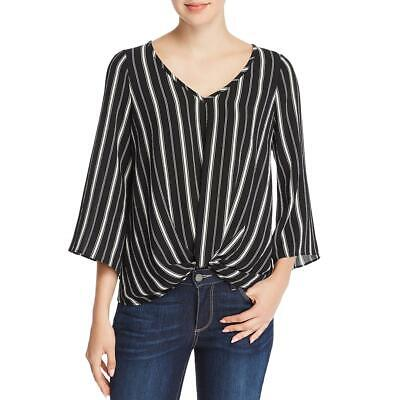 Status by Chenault Womens Knot-Front Three-Quarter Sleeve Top Blouse BHFO 0917