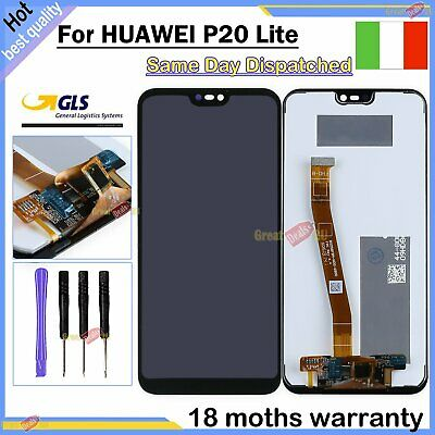 Schermo Per Huawei P20 Lite Ane-Lx1 Lcd Display Nero Touch Screen Vetro Assembly