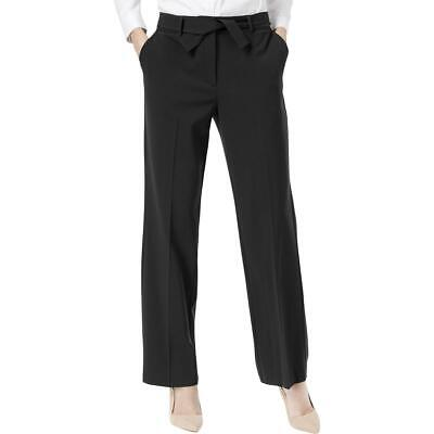 NY Collection Womens Black Solid Flat Front Wide Leg Pants Trousers 4 BHFO 0038