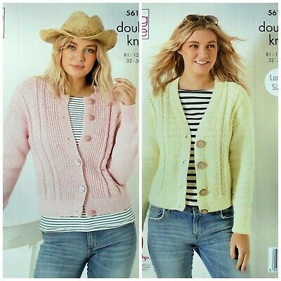 """Ladies Cardigan with Cables and round neck Knitting Pattern DK 30-44/"""" 1089"""