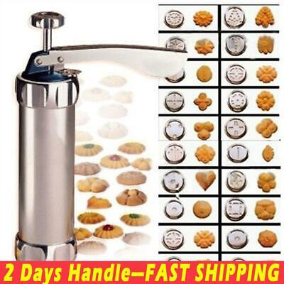 Stainless Steel Biscuit Press Set Cookie Making Machine Kit 20 Moulds +4 Nozzles