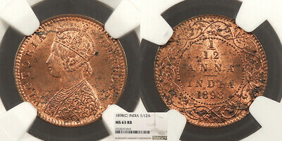 INDIA Victoria 1898 1/12 Anna NGC MS-63 RB
