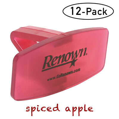 Renown Deodorant Toilet Bowl Clip Solid Air Freshener, 12 Pack (Spiced Apple)