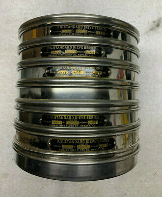 Lot Of 5 Fisher Tyler Newark Astm Test Sieves + Covers And Separator