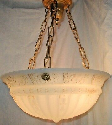 Antique Vtg Art Deco Nouveau Glass Bowl Shade Theater Light Fixture Chandelier