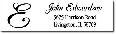 400 Monogrammed - Personalized Return Address Labels  1/2 x 1.75 Inch Design #1