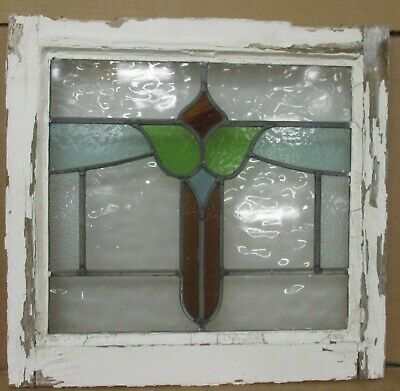 "OLD ENGLISH LEADED STAINED GLASS WINDOW Pretty Floral Sweep 19.25"" W x 18.25""H"