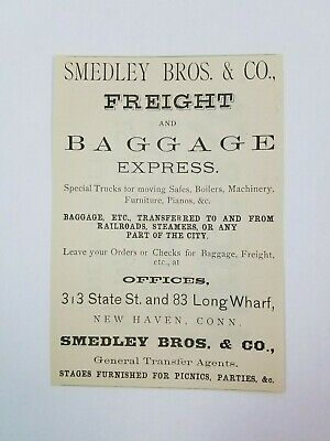 1885 New Haven Connecticut Advertisement Smedley Brothers Freight Meigs Clothing