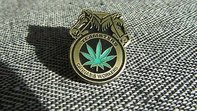 Cannabis Workers Lapel Pin Marijuana Leaf Field Authentic Teamsters Trade Union