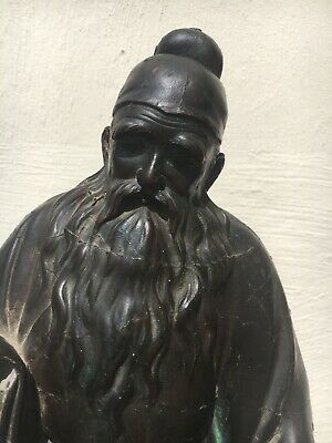 Rare, antique Chinese Qing dynasty bronze figure of Confucius [Kung Tze]