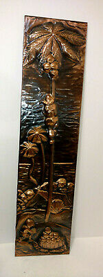 Art Deco Vintage Copper Relief Wall Hanging'' Palm Tree Coconuts Scene ''