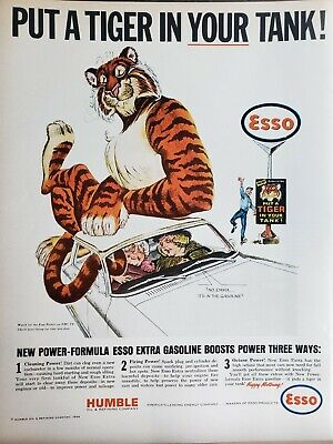 Lot of 3 Vintage 1964 Esso Gas Ads Put A Tiger in Your Tank