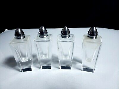 4 Crystal w/ Silver Metal Lids Contemporary Modern Design Salt & Pepper Shakers