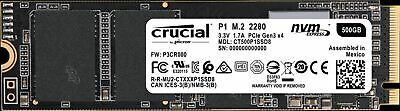 Crucial P1 500GB M.2 NVMe PCIe 3.0 X4 Internal Solid State Drive SSD 1900MB/S