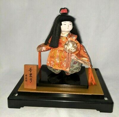 Vintage Japanese Samurai Warrior Doll in Black Lacquer Glass Case