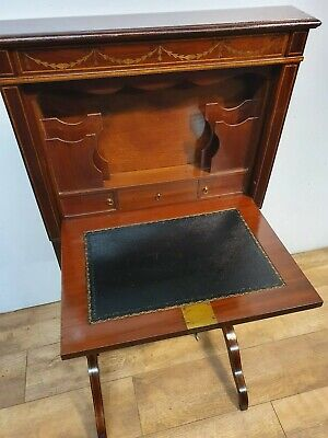 Ladies Inlaid Writing Desk Bureau Very Unusual 1900S Ink Wells 2 Secret Draws
