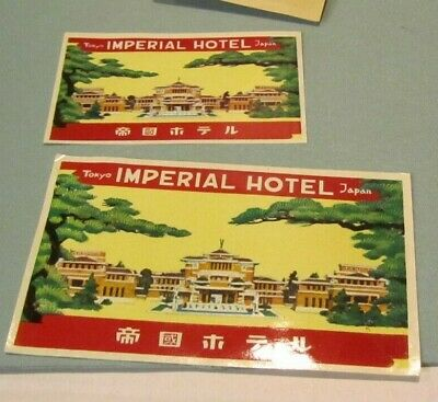 Vintage Imperial Hotel Luggage Label Lot Tokyo Japan Big & Small Travel Souvenir