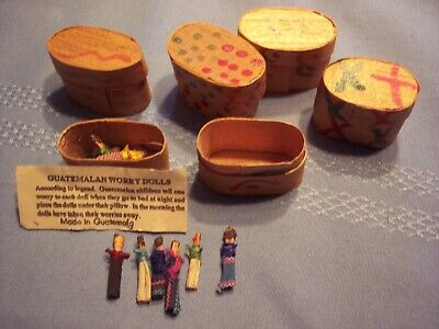 6 Sets of Miniature Guatemalan  Worry Dolls - 6 Dolls in Each Set in Tiny Wooden